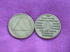 ONE DAY AT A TIME ~ Al-Anon Symbol ~ Serenity Prayer & 24 Hour Bronze Medallion