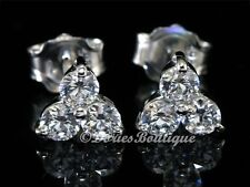 Cute Clear Three Round 925 Sterling Silver CZ Stud Earring .925 Fine Jewelry
