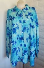 NEW  Liz & Me 4X Blue Dotted Swiss Tie-Dye Effect Button Front Shirt Blouse Plus