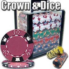 New 1000 Crown & Dice 14g Clay Poker Chips Set with Acrylic Case - Pick Chips!