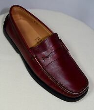 TOD'S Gommino Red Leather Driving Penny Loafers Black Rubber Soles  Size 5.5