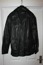 Mens Genuine Guess Leather Coat Size L Removeable Fleece Lining Jacket