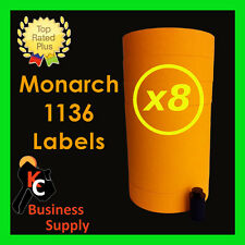 Orange 1136 labels for the Monarch 1136, 1138 price gun - 8 sleeves = 64 rolls