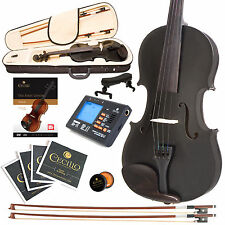 CECILIO SIZE 4/4 SOLIDWOOD STUDENT VIOLIN METALLIC BLACK +TUNER+BOOK