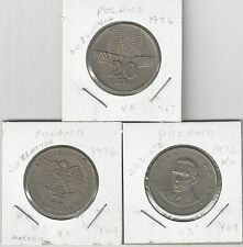 xx From Accumulation - 3 DIFFERENT 20 ZLOTY COINS..POLAND..ALL 1967 (3 TYPES)