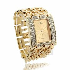 Montre Quartz Bracelet En Alliage Strass Cadran Rectangle Or Watch Femme Déco