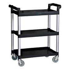 Commercial Black Three Shelf Utility Cart / Bus Cart Kitchen Hotel Janitorial