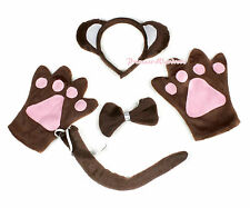 Halloween Brown Wild Animal Monkey Ear Headband Bow Paws Gloves Party Costume