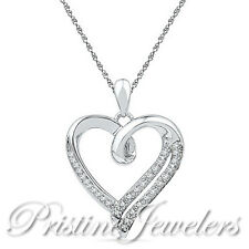 925 Sterling Silver Heart Mothers Day Necklace White Black Pendant Chain Womens