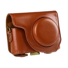 PU Leather Camera Case Cove Bag Pouch for Casio ZR2000 ZR3500 With Strap Brown