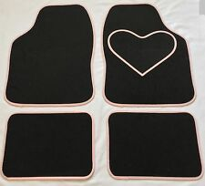 BLACK CAR MATS WITH PINK HEART HEEL PAD FOR VOLKSWAGEN BEETLE BORA EOS FOX GOLF