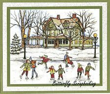 WINTER ICE SKATING CHRISTMAS Wood Mounted Rubber Stamp NORTHWOODS P10134 New