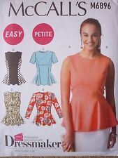NEW McCALLS SEWING PATTERN FOR LADIES PEPLUM STYLE TOPS