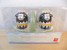 """NEW Russ Springtime Easter """"Sheep"""" Mini Salt & Pepper Shakers with Basket"""