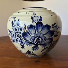 Antique Handpainted Cobalt Blue Flowers Delft Squat Vase, Signed