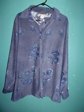 Notations blue moleskin top / blouse with floral pattern   Size 1X