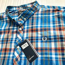 NWT Fred Perry 2XL XXL Mens Slim Fit Kingfisher Casual Shirt Plaid Check Cotton