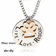 10pcs Live Love Rescue Paw Print Pendent Necklace Pet Animal Lover Memorial Gift