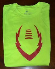 Nike Men's Football ICON T-shirt Volt/Red Large L Dri Fit 612980 NWT NEW $28