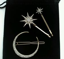 Vintage Deco Hair Clips Cresent Moon Stars Bridal/Wedding Anthropologie £32