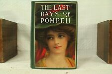 THE LAST DAYS OF POMPEII antique old book green woman decorative hardcover