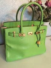 Rare Color Genuine Leather Apple Green 35cm Gold HDW Birkin Style Bag From Italy