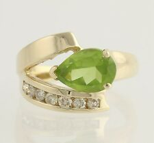 Modern Peridot & Diamond Cocktail Ring - 14k Yellow Gold 6 1/2 Genuine 1.75ctw