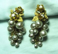 """MIRIAM HASKELL GP Costume Pearl Earrings 2"""" long clip-on earrings"""