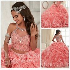 Ball Gown Pink Quinceanera Dress Ruffled Crystal Two Piece Pageant Prom Gown