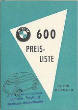 ✇ Original Preisliste price list BMW 600 ISETTA von Mai 1958