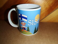 Finnish Boy with Puukko Knife Finland Flag  & Sisu Coffee Tea Mug #1991U