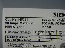 NEW Siemens HF361 Safety Switch 30A 3P 600V 3W Fused HD Type 1