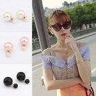 1 Pair Hot New Design Fashion Man Made Double Pearl Earrings Ear Studs 3Colors