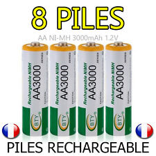LOT 8 PILES ACCUS RECHARGEABLE AA BTY NI-MH 3000mAh 1.2V LR06 LR6 R06 R6 ACCU
