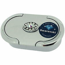 Danielle Ladies Silver Metallic Oval Swarovski Pill Box Case & Two Compartments