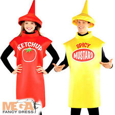 Mustard + Ketchup Bottle Couple Fancy Dress Food Ladies Mens Adults Costumes New