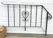 Vtg Black WROUGHT IRON PORCH Hand Rail RAILING Ornate Architectural Salvage 63""