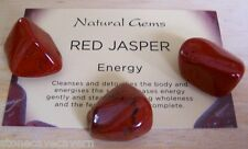 RED JASPER TUMBLESTONES 20mm - PACK 3 CRYSTALS WITH CRYSTAL INFORMATION CARD