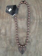 Cross in Heart Copper Antiqued Metal Ball Chain Necklace Pendant, Cut Out lg