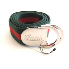J-1252114 New Gucci Red Green Stripe Silver Buckle Belt Size-44/110