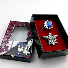 Anime Black Butler Ring+Sebastian Badge Pin Combo sebastian Ciel Jewelry