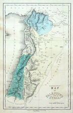 ISRAEL, SYRIA, PALESTINE, Gall & Inglis original antique hand coloured map c1850
