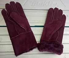 dark red ladies women 100% genuine real leather sheepskin gloves mittens winter