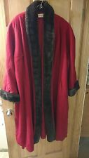 Vintage Preston and York Women's Red Full Length Wool Coat, Size 3x