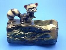 Vintage Brush Planter Log with Raccoon