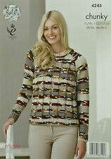 KNITTING PATTERN Ladies Long Sleeve Round Neck Jumper Chunky King Cole 4245