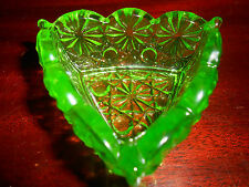 Green Vaseline glass Daisy and Button salt dip cellar / uranium Triangle yellow