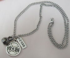 Mens CROSSFIT 45Lb Weight 'I CAN' Gunmetal KETTLEBELL Silver Tone CHAIN NECKLACE