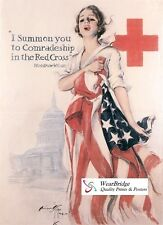 VINTAGE STYLE AMERICAN WORLD WAR ONE  POSTER: RED CROSS - I SUMMON YOU