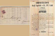 ITALIA REGNO storia postale - 1873  MANIFESTO Brescia : ORARIO VISITE OSPEDALE